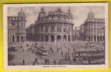 Old Postcard 1920 ca GENOVA Piazza de Ferrari Tram ITALY Postal Cartolina ITALIA