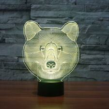 NightLight Illusion Desk Lamp Bear 7 Colors Change Touch Sensor Led Modern Decor