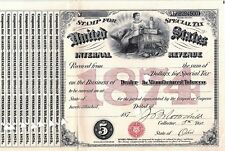 1874 $5 U.S. Internal Revenue, Dealer License in Manufactured Tobacco Tax Stamp