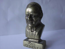 POPE JOHN PAUL II Bronze Brass Bust of Head Chest Stunning Heavy Small Vintage