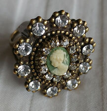 Michal Negrin Victorian Cameo Ring CHOOSE COLOR Swarovski Crystal NEW! $87