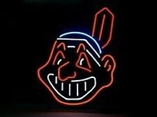 "Cleveland Indians Chief Wahoo Neon Lamp Sign 20""x16"" Bar Light Beer Display"