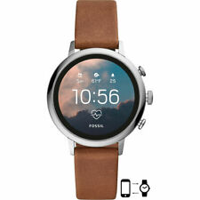 Fossil FTW6014 Gen 4 18mm Stainless Steel Case Brown Leather Strap - FTW6014P