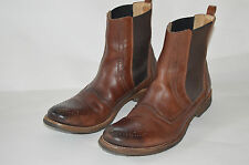 DOLCE AND GABBANA brown leather Chelsea boot ankle stretch boots 39 EUR 8 ?