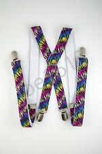 Rainbow Zebra Print Mens Adult Suspender Elastic X Back 4 Clip Adjustable SD16