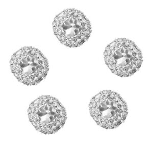5x Silver Diamante Rhinestone Round Shank Buttons DIY Sewing Craft Crystals 23mm