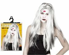 Halloween Ladies Fancy Dress Party Costume Long White Zombie Hair Wig Witch