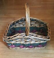 Large Woven Wood Rope Sturdy Basket w/ Handle Storage green red Rectangular