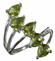 Handmade 925 Solid Sterling Silver Ring Natural Peridot Stone US Size 8.75 R1420