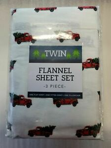 NEW  Flannel Holiday 3 Piece Sheet Set 100% cotton Red Trucks And Trees/ TWIN