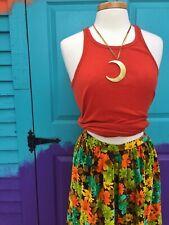 Handmade Vintage 1970s Indie Floral Fall Velvet Skirt