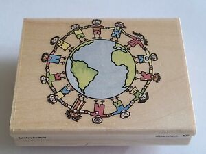 Rubber Stampede Let's Save Our World Rubber Earth Day Peace Rubber Stamp A1756F