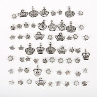 50Pcs Tibet Silver Mixed Crown Charm Pendants For DIY Necklace Jewelry Making yu