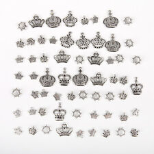 50Pcs Mixed Alloy Tibet Silver Tone Crown Charms Pendants DIY Jewelry Making aa
