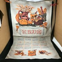 Vintage Cloth Linen Calendar 1970 Bakery Kitchen