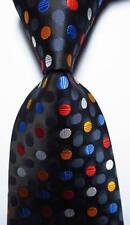 New Classic Polka Dot Black Gray White Red JACQUARD WOVEN Silk Men's Tie Necktie