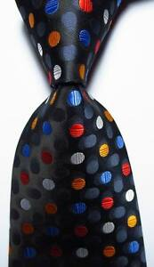 New Classic Polka Dot Black Gray White Red JACQUARD WOVEN Silk Men's Tie Necktie