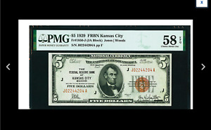 KANSAS Fr. 1850-J $5 1929 Federal Reserve Bank Note. PMG Choice About Unc 58 EPQ