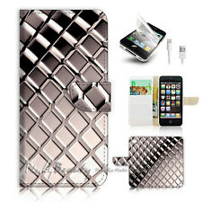 ( For iPhone 5 / 5S / SE ) Wallet Case Cover! Black White Pattern P0501