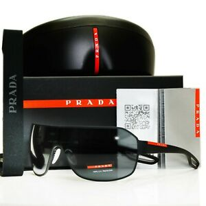 Authentic PRADA Mens Sunglasses Black Shield Visor Ski Sport SPS 52Q DG0-1A1