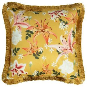 Floral Cushion Mustard Yellow Blush Pink Gold Fringe Cover Sofa Throw 50cm 20in