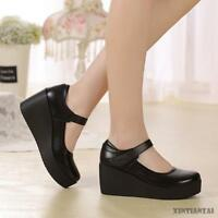 Mary Jane Womens Black Leather Pumps Shoes Nurse Shoes Round Toe High Wedge Heel