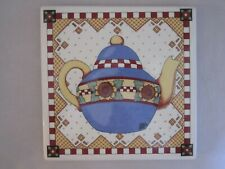 "Mary Engelbreit Sunflower Teapot Trivet Ceramic Tile Wall Hanging Plaque 8"" Sq"