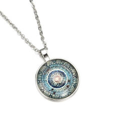 Tibet Silver Chain Necklace Ch0 Mysterious Flower Photo Cabochon Glass Pendant