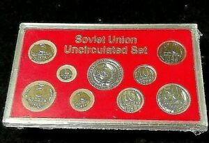 1988 1989 Last Coins of the Soviet Union Uncirculated Set of 9 in Display