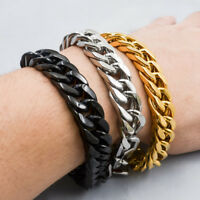 """Mens Cool Stainless Steel Curb Chain Bracelet Silver Gold Rose Gold 8.66""""15mm"""