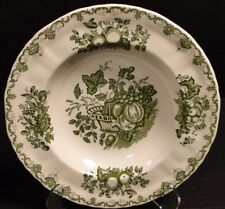 "Johnson Brothers Fruit Basket Green Soup Bowl Rimmed 8 3/4"" EXCELLENT!"