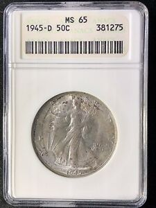 1945-D 50C Liberty Walking Half Dollar ANACS   MS65     381275