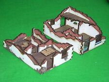 WARHAMMER SCENERY , LASER CUT, HANDMADE RUINED HOUSES x2, PAINTED