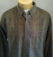 vtg USA Arrow Chevella plaid flannel shirt mens LARGE brown red black