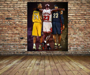 NBA Wall Art Michael Jordan, Kobe Bryant, Lebron James Canvas Print 24x18