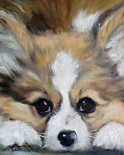 Pembroke welsh Corgi Art by Mary Sparrow of Hanging the moon art studio
