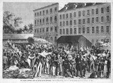 Leipzig, die Leder - Messe, Original-Holzstich von 1881