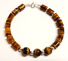 Sterling Silver Bracelet Genuine Tiger Eye Gemstone Beads 7.5 inch