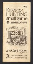 1971 Michigan Department of Natural Resources - Hunting Small Game and Bear
