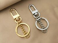 Polished Swivel Clasp with Keyring Chain, DIY Keychain Supplies, Flat Split Ring