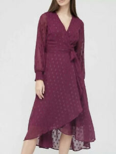 V By Very Flocked Wrap Midi Dress Plum UK Size 20