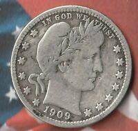1909 D United States Barber Quarter Dollar~ 90% Silver- Decent Silver coin