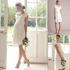 Short Scoop Cap Sleeve Lace Beach Pregnant Wedding Dresses Maternity Bridal Gown