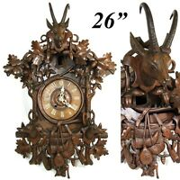 "Spectacular Antique Black Forest 26"" Cuckoo Clock Case, Hunt Theme Figural"