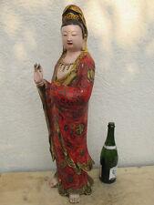 Alter Guan YIN Cloisonne Emaille Buddha attraktive Rarität a Tibet ~ 1955  78cm