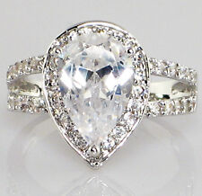 PEAR DUAL BAND 3.78 CT. Cubic Zirconia Engagement Bridal Wedding Ring - SIZE 8