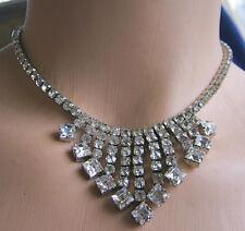 "Most Beautiful Rhinestone Necklace Sparkly, Prong-Set, Bib Elegant 14"""