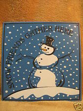 Snow Friends Gather Here Tin Metal Sign Snowman Winter Christmas Cute