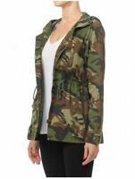 Women's Zip Up Safari Military Anorak Jacket with Hood Drawstring Half Coat