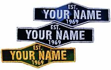 Personalised Name Embroidered Patches Sew Iron on Badge Tag Jeans Club Est Year Glow in Dark Corduroy Small Custom Colour Cotton